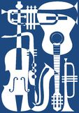 Entziehen Sie blaue Musikinstrumente, Vektorillustra Stockbild