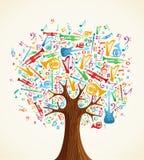 Entziehen Sie den musikalischen Baum, der mit Instrumenten gebildet wird Lizenzfreies Stockfoto