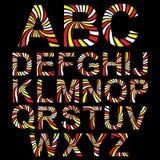 Entziehen Sie gestreiftes Alphabetset. Vektor Lizenzfreie Stockbilder