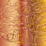 entziehen Sie Hintergrund elektronischer Vorstand Gold und Bronze Stockfotografie