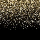 entziehen Sie Hintergrund Goldene Strahlen des Lichtes mit leuchtendem magischem Staub glühen in die Dunkelheit Flugteilchen des  stock abbildung