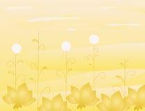 Entziehen Sie Hintergrund mit Goldblumen stock abbildung