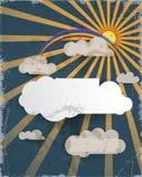 Entziehen Sie Papierschnitt Hintergrund des blauen Himmels und leeres Wolkengestaltungselement mit Platz für Ihren Text Strukturi Lizenzfreies Stockfoto