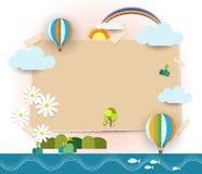 Entziehen Sie Papierschnitt Leeres Papier merkt Hintergrund Raum für Textpost-itanmerkungen Reisen- und Tourismuskonzept Lizenzfreie Stockfotografie
