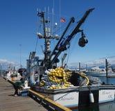 Enutrustad fiskebåt på Homer royaltyfria foton