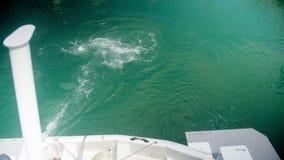 Envíe crear un rastro en un mar coloreado azul metrajes