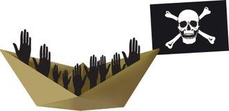 Envíe la bandera de pirata del vuelo con los inmigrantes ilegales del color stock de ilustración