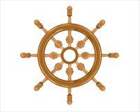 Envíe la rueda de madera de la dirección del ` s en el fondo blanco Stock de ilustración