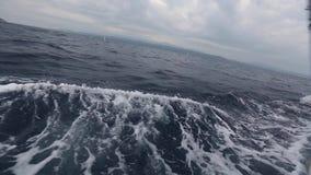Envíe los yates con las velas blancas en el mar abierto Barcos de lujo almacen de metraje de vídeo
