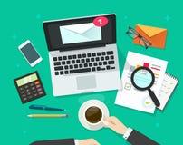Envíe por correo electrónico el ejemplo del vector del márketing, correo electrónico que analiza o que examina campaña del hoja i Imagen de archivo
