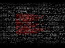Envíe por correo electrónico el sobre de un código binario al código hexadecimal Imagen de archivo libre de regalías
