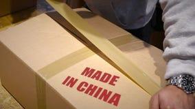 Envío de las mercancías hechas en China almacen de metraje de vídeo