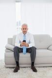 Envío de mensajes de texto maduro elegante del hombre de negocios en casa Imagen de archivo libre de regalías