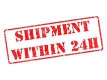 Envío dentro de 24h en sello de goma rojo. Imágenes de archivo libres de regalías