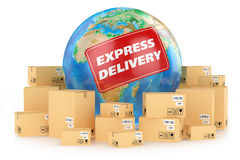 Envío express por todo el mundo. Concepto Fotografía de archivo libre de regalías