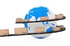 Envío global y concepto logístico Globo de la tierra rodeado cerca stock de ilustración