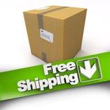 Envío gratis, caja de cartón Foto de archivo
