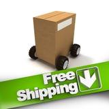 Envío gratis, caja en las ruedas Imagen de archivo