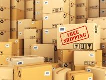 Envío gratis o salida Fondo de las cajas de cartón Foto de archivo