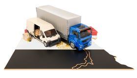 Envío y entrega en el concepto de Egipto, representación 3D stock de ilustración
