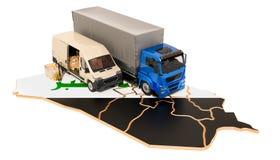 Envío y entrega en el concepto de Iraq, representación 3D stock de ilustración