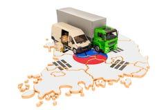 Envío y entrega en el concepto de la Corea del Sur, representación 3D stock de ilustración
