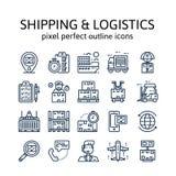ENVÍO Y LOGÍSTICA: Iconos del esquema, pictograma y colección del símbolo stock de ilustración