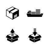 Envío y logística Iconos relacionados simples del vector Fotos de archivo libres de regalías