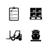 Envío y logística Iconos relacionados simples del vector Foto de archivo
