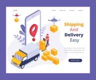 Envío y sistema de envío en línea donde el sistema entero se gestiona desde un concepto isométrico de las ilustraciones del app m stock de ilustración