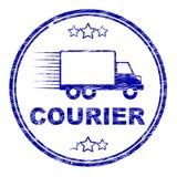 Envío y transporte de Stamp Means Delivery del mensajero Foto de archivo