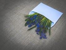 ENV-Datei vorhanden Frühlingsblumen- und Leinengewebe Stockbilder