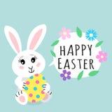ENV-Datei vorhanden Nettes Kaninchenhäschen, das farbiges Ei mit Punkten mit Spracheblase mit Textzeichen fröhliche Ostern hält u stock abbildung
