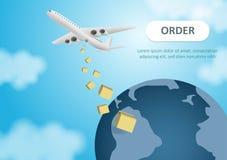 Env?o y entregas globales por servicio a?reo Cajas de cart?n con los productos Vuelo de los aviones Imagen en formato del vector ilustración del vector