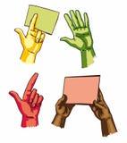 ENV s - Hände, welche die Blätter und das Darstellen anhalten Stockfotografie