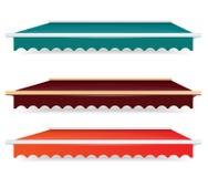 Bunter Satz einzelne Farbmarkisen Stockfoto