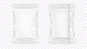 Envasado de alimentos en blanco transparente de la hoja Imagen de archivo libre de regalías
