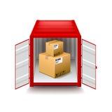 Envase abierto en el vector blanco Fotografía de archivo