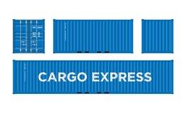 Envase azul del buque mercante para la logística y transporte aislado en el ejemplo blanco del vector del fondo fácil cambiar imagen de archivo libre de regalías