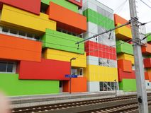 Envase-como la pared arquitectónica multicolora de Salzburg ha Imagenes de archivo