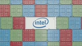 Envase con el logotipo corporativo de Intel Representación editorial 3D stock de ilustración