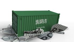 Envase con el texto de la EXPORTACIÓN que es estrellado con el envase con la bandera de la Arabia Saudita, animación conceptual 3 almacen de video