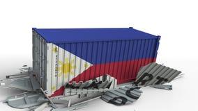 Envase con el texto de la EXPORTACIÓN que es estrellado con el envase con la bandera de Filipinas, animación conceptual 3D almacen de video