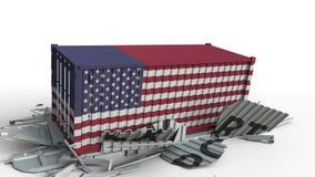Envase con el texto de la EXPORTACIÓN que es estrellado con el envase con la bandera de los E.E.U.U., animación conceptual 3D almacen de video