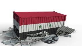 Envase con el texto de la EXPORTACIÓN que es estrellado con el envase con la bandera de Siria, animación conceptual 3D almacen de video