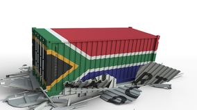 Envase con el texto de la EXPORTACIÓN que es estrellado con el envase con la bandera de Suráfrica, animación conceptual 3D almacen de metraje de vídeo