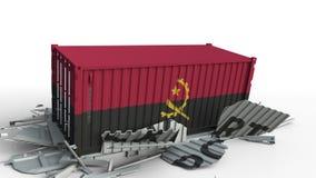 Envase con la bandera de Angola que rompe el envase con el texto de la EXPORTACIÓN Animación conceptual 3D metrajes