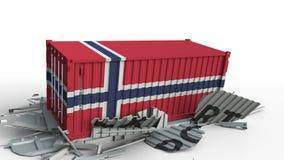Envase con la bandera de Noruega que rompe el envase con el texto de la EXPORTACIÓN Animación conceptual 3D metrajes