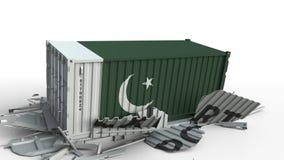 Envase con la bandera de Paquistán que rompe el envase con el texto de la EXPORTACIÓN Animación conceptual 3D almacen de metraje de vídeo