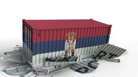 Envase con la bandera de Serbia que rompe el envase con el texto de la EXPORTACIÓN Animación conceptual 3D almacen de video